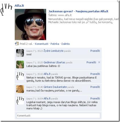 Facebook - naujienos paskelbimas ir komentaras